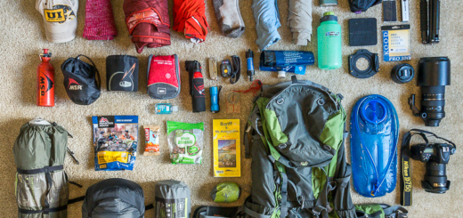 Backpack Trekking Gear arrangement for multi day hike. Deuter Pack.