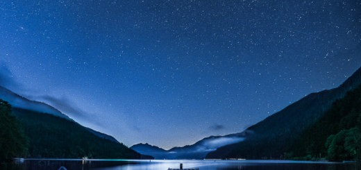 Starry night at Crescent Lake in Olympic National Park, Washington.