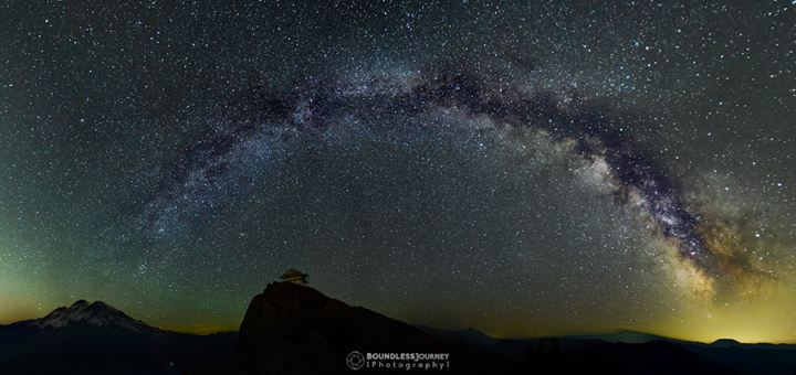 The Milky Way stretching from Mt. Rainier to Mt. St. Helens in Washington