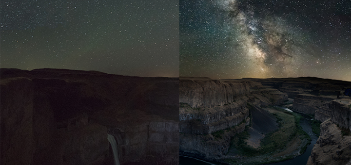 Before and after image of the Milky Way over Palouse Falls. Boundless Journey.