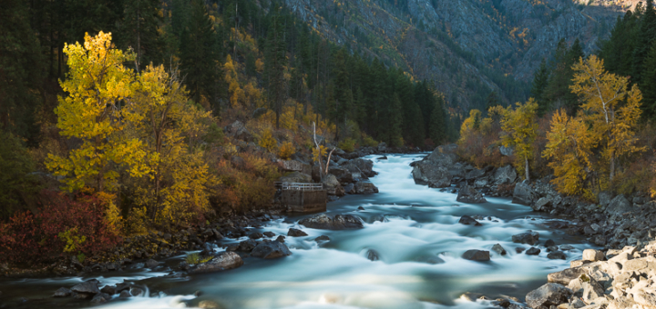 Fall foliage in the mountains and lining the Wenatchee River in Leavenworth, Washington. Boundless Journey Photography